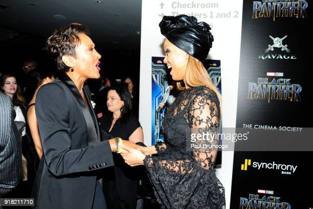 Robin Roberts and Tyra Banks attend The Cinema Society with Ravage Wines Synchrony host a screening of Marvel Studios' 'Black Panther' at The Museum...