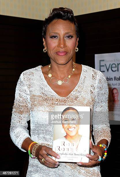 Robin Roberts arrives at her book signing for Everybody's Got Something at Barnes Noble bookstore at The Grove on April 28 2014 in Los Angeles...