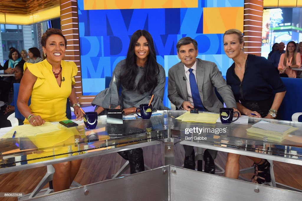 Robin Roberts, Ciara, George Stephanopoulos, and Lara Spencer pose during the 2017 American Music Awards nominations announcement at Good Morning America Studios on October 12, 2017 in New York City.