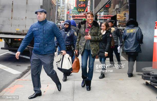 Robin Roberts is seen in midtown on February 20 2019 in New York City