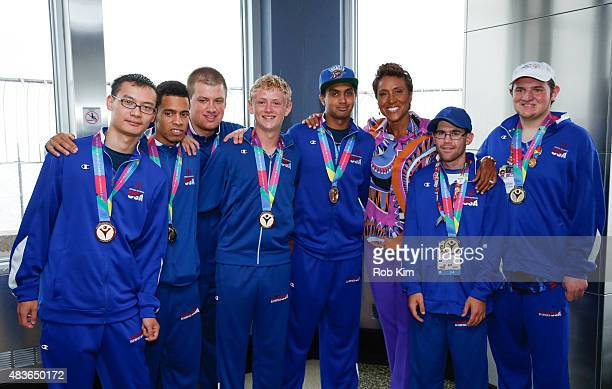 Robin Roberts of ABC's Good Morning America poses in a group photo with the Special Olympics Champion New York Unified Basketball Team as The Empire...