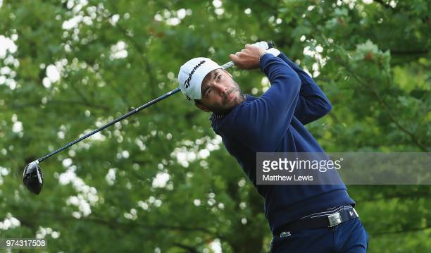 Robin Roussel of France tees off on the 10th hole during day one of the Hauts de France Golf Open at Aa Saint Omer Golf Club on June 14 2018 in...