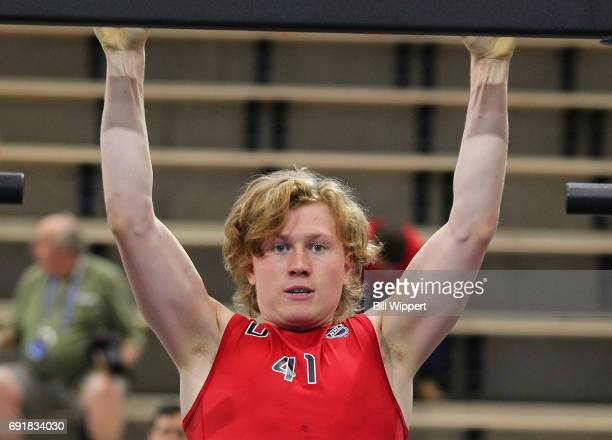 Robin Salo does PullUps during the NHL Combine at HarborCenter on June 3 2017 in Buffalo New York