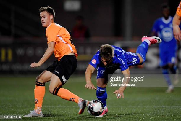 Robin Schouten of FC Volendam Andreas Calcan of Almere City during the Dutch Keuken Kampioen Divisie match between FC Volendam v Almere City at the...