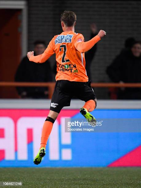 Robin Schouten of FC Volendam celebrate 10 during the Dutch Keuken Kampioen Divisie match between FC Volendam v Utrecht U23 at the Kras Stadium on...