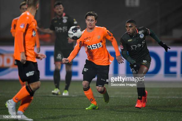 Robin Schouten of FC Volendam Deroy Duarte of Sparta Rotterdam during the Dutch Keuken Kampioen Divisie match between FC Volendam v Sparta at the...