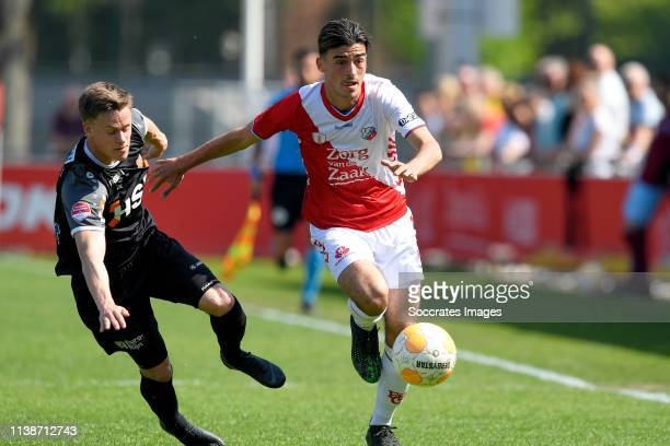 Robin Schouten of FC Volendam Mehdi Lehaire of FC Utrecht U23 during the Dutch Keuken Kampioen Divisie match between Utrecht U23 v FC Volendam at the...