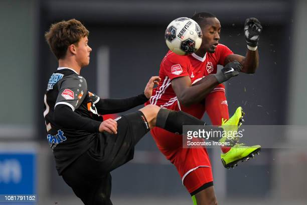 Robin Schouten of FC Volendam Torino Hunte of Almere City during the Dutch Keuken Kampioen Divisie match between Almere City v FC Volendam at the...