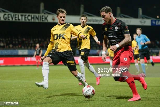 Robin Schouten of NAC Breda , Joel Zwarts of Excelsior Rotterdam during the Dutch Keuken Kampioen Divisie match between Excelsior v NAC Breda at the...