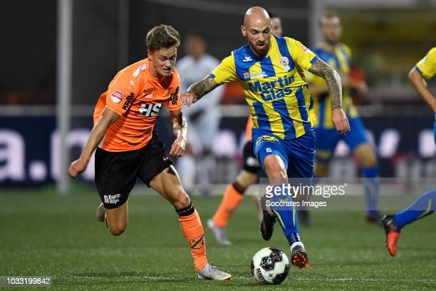 Robin Schouten of Volendam Bryan Smeets of TOP Oss during the Dutch Keuken Kampioen Divisie match between FC Volendam v TOP Oss at the Kras Stadium...