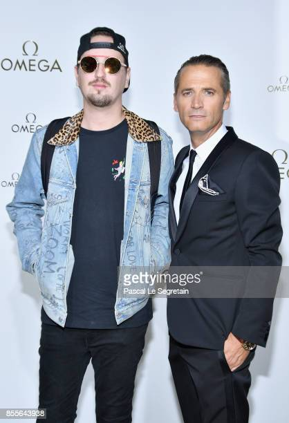 DJ Robin Schulz and Raynald Aeschlimann attends Her Time Omega Photocall as part of the Paris Fashion Week Womenswear Spring/Summer 2018 on September...