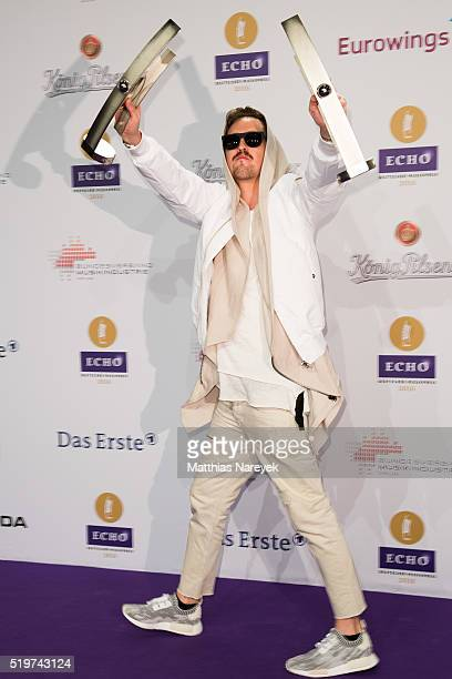 Robin Schulz poses with his award at the winners board during the Echo Award 2016 on April 7 2016 in Berlin Germany