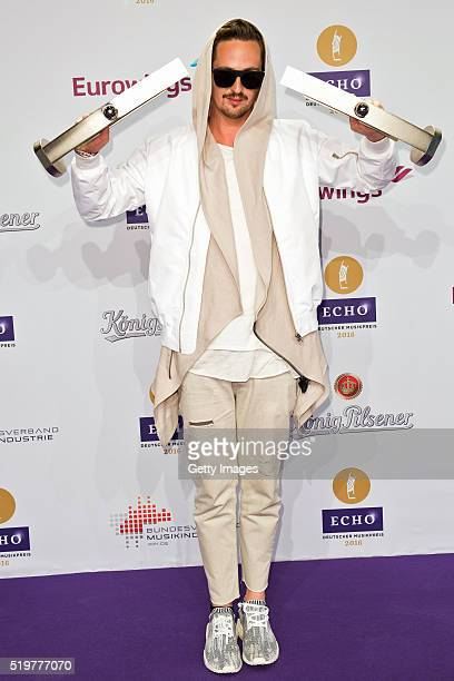 Robin Schulz poses with his awards at the winners board during the Echo Award 2016 on April 7 2016 in Berlin Germany