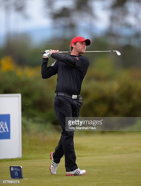 Robin SciotSiegrist of France plays his first shot on the 15th tee during The Amateur Championship 2015 Day Four at Carnoustie Golf Club on June 18...