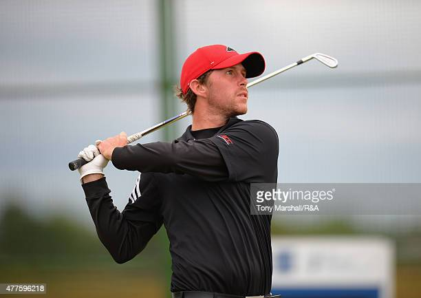 Robin SciotSiegrist of France plays his first shot on the 16th tee during The Amateur Championship 2015 Day Four at Carnoustie Golf Club on June 18...