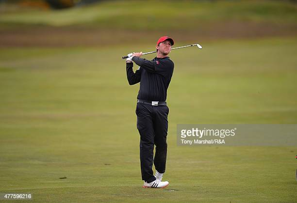 Robin SciotSiegrist of France plays his second shot on the 15th fairway during The Amateur Championship 2015 Day Four at Carnoustie Golf Club on June...