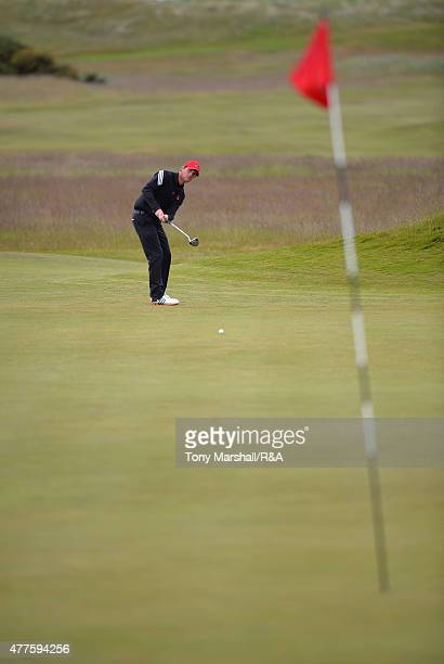 Robin SciotSiegrist of France putts on the 14th green during The Amateur Championship 2015 Day Four at Carnoustie Golf Club on June 18 2015 in...