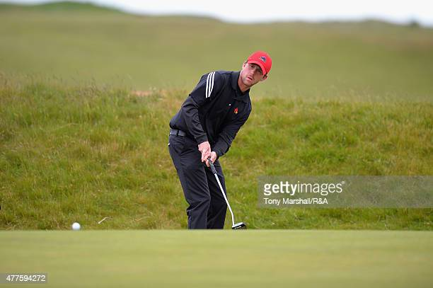 Robin SciotSiegrist of France putts on the 16th green during The Amateur Championship 2015 Day Four at Carnoustie Golf Club on June 18 2015 in...