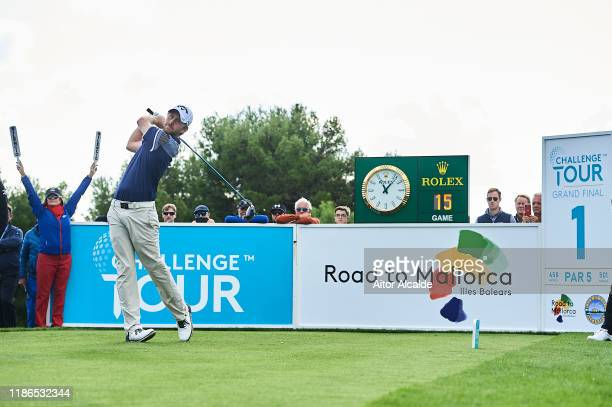 Robin SciotSiegrist of France tees off from the 1st tee during day 3 of the Challenge Tour Grand Final at Club de Golf Alcanada on November 09 2019...