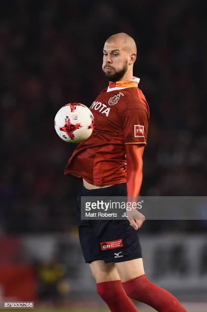 Robin Simovic of Nagoya Grampus in action during the JLeague J1 Promotion PlayOff semi final match between Nagoya Grampus and JEF United Chiba at...