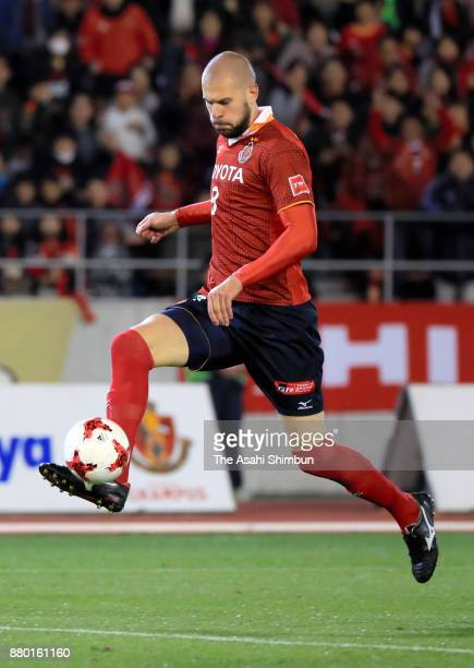 Robin Simovic of Nagoya Grampus scores his side's second goal during the JLeague J1 Promotion PlayOff semi final match between Nagoya Grampus and JEF...
