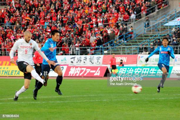 Robin Simovic of Nagoya Grampus scores the opening goal during the JLeague J2 match between Kamatamare Sanuki and Nagoya Grampus at Pikara Stadium on...