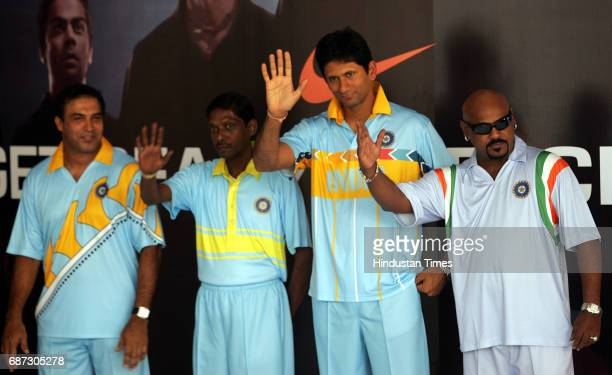 Robin Singh Venkatesh Prasad and Vinod kamble for the concoction of new Jersy uniforms for Indian players upcoming cricket tour during its launch in...