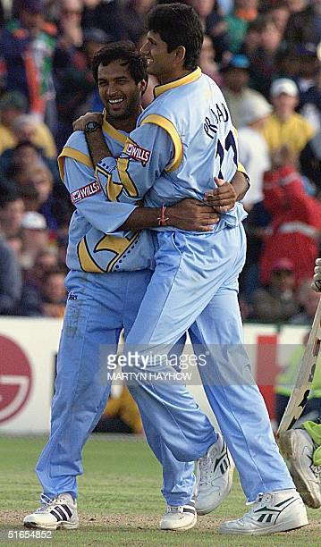 Robin Singh with Man of the Match BK Venkatesh Prasad of India celebrates one of his five wickets in the match between India and Pakistan in the...