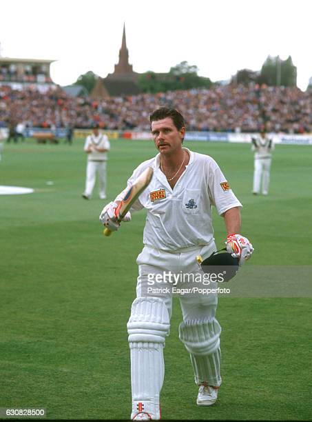 Robin Smith of England walks off at the end of England's innings after scoring 167 not out in the 2nd Texaco Trophy One Day International between...