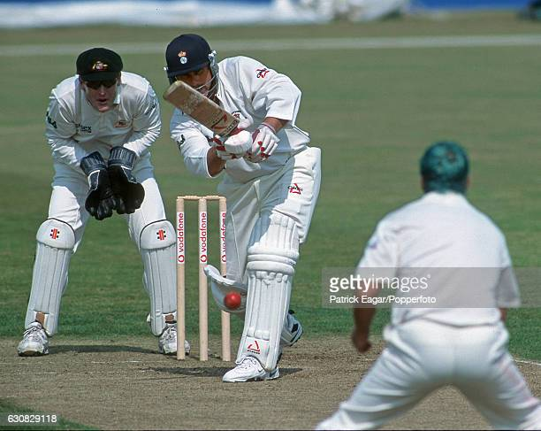 Robin Smith of Hampshire drives Australian bowler Colin Miller during his innings of 113 in the tour match between Hampshire and Australia at The...