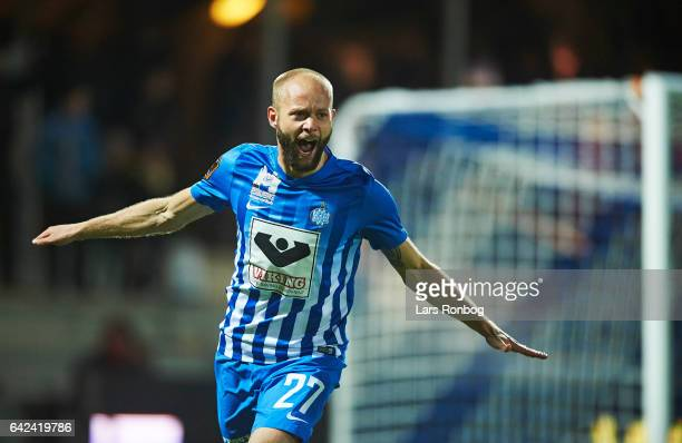 Robin Soder of Esbjerg fB celebrates after scoring their first goal during the Danish Alka Superliga match between Esbjerg fB and Sonderjyske at Blue...