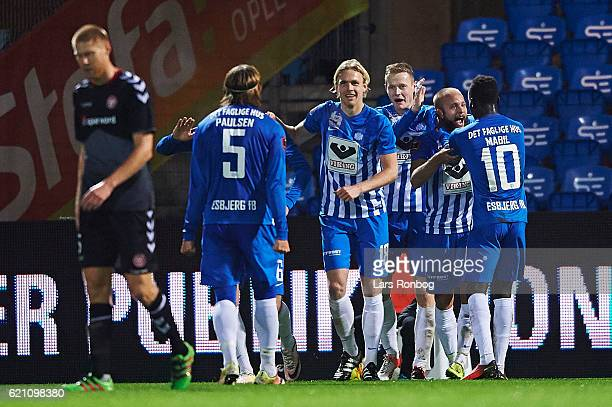 Robin Soder of Esbjerg fB celebrates after scoring their second goal during the Danish Alka Superliga match between Esbjerg fB and AaB Aalborg at...