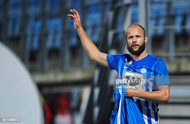 Robin Soder of Esbjerg fB celebrates during the Danish Alka Superliga match between Esbjerg fB and AaB Aalborg at Blue Water Arena on November 4 2016...