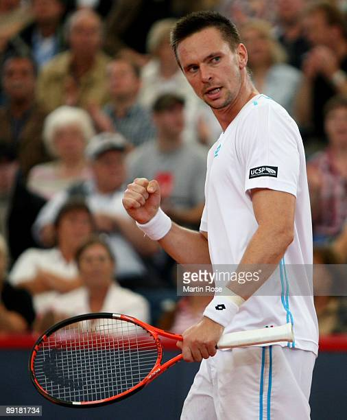 Robin Soderling of Sweden celebrates after winning the match against Fabio Fognini of Italy during day three of the International German Open at...