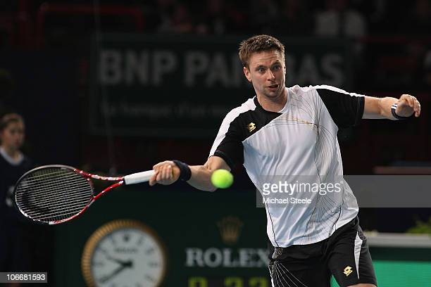 Robin Soderling of Sweden in action aginst Gilles Simon of France during Day Four of the ATP Masters Series Paris at the Palais Omnisports on...