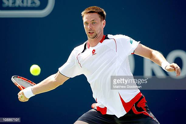 Robin Soderling of Sweden returns a shot to David Nalbandian of Argentina during the Rogers Cup at the Rexall Centre on August 12 2010 in Toronto...