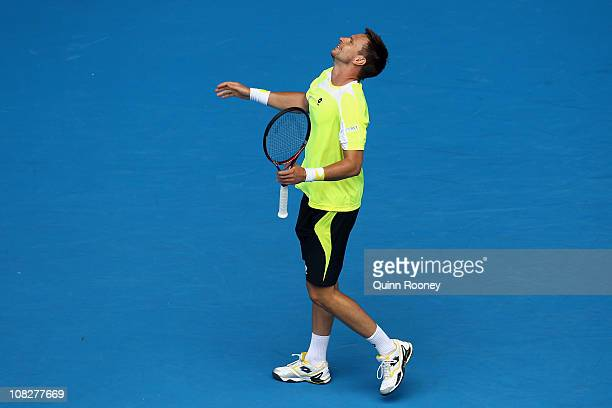 Robin Soderling of Sweden shows emotion in his fourth round match against Alexandr Dolgopolov of the Ukraine during day eight of the 2011 Australian...