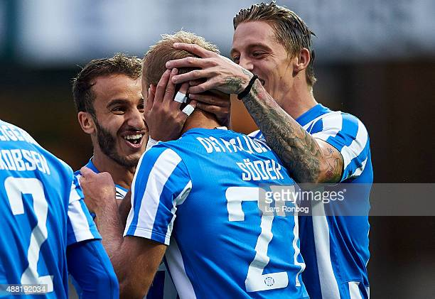 Robin Soeder of Esbjerg fB celebrates with Mohammed Fellah and Nicki Bille Nielsen after scoring their first goal during the Danish Alka Superliga...