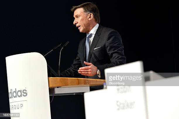 Robin Stalker chief financial officer of Adidas AG speaks during the company's earnings news conference in Herzogenaurach Germany on Thursday March 7...