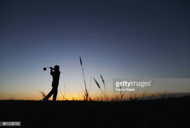 Robin Sullivan of Exeter College Oxford in action during the Oxford and Cambridge Golfing Society President's Putter at Rye Golf Club on January 4...