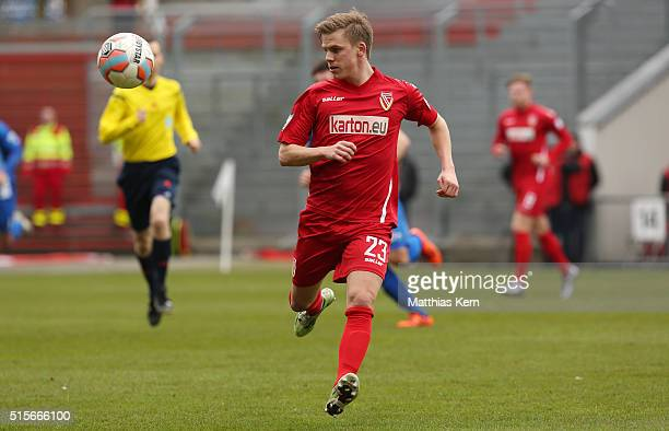 Robin Szarka of Cottbus runs with the ball during the third league match between FC Energie Cottbus and 1.FC Magdeburg at Stadion der Freundschaft on...
