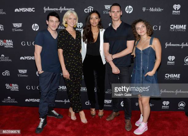 Robin Taylor Erin Richards Jessica Lucas Cory Michael Smith and Camren Bicondova pose in the VIP Lounge during the 2017 Global Citizen Festival in...