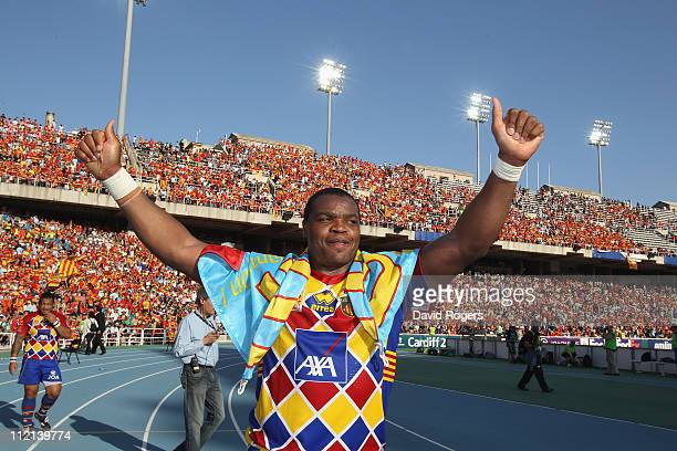 Robin Tchalewatchou of Perpignan celebrates after his teams victory during the Heineken Cup quarter final match between Perpignan and Toulon at the...