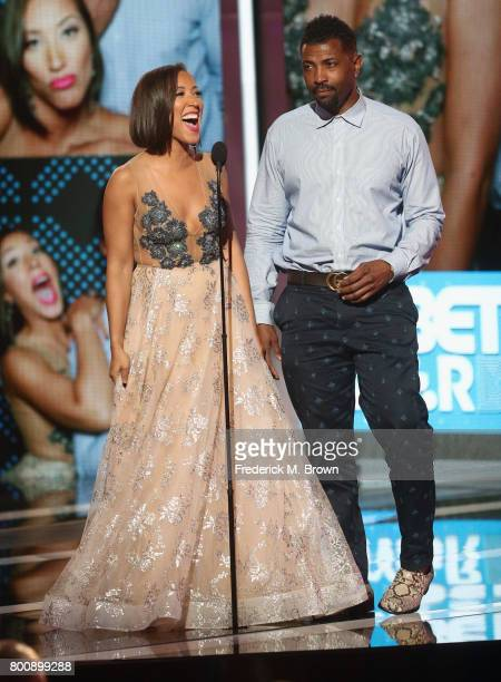 Robin Thede and Deon Cole speak onstage at 2017 BET Awards at Microsoft Theater on June 25 2017 in Los Angeles California