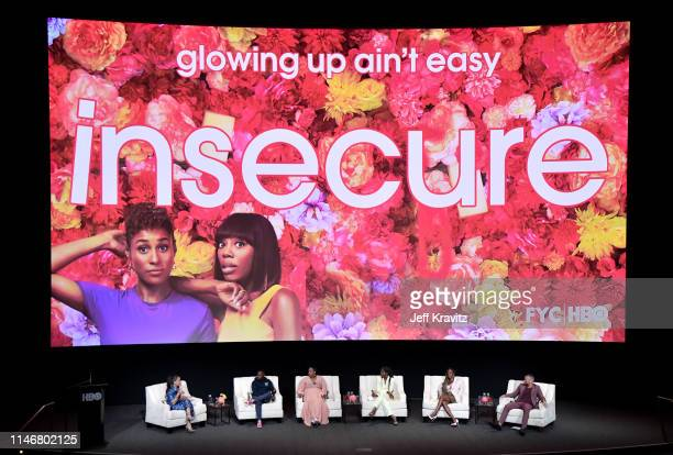 Robin Thede Prentice Penny Natasha Rothwell Issa Rae Yvonne Orji and Kendrick Sampson at the Insecure FYC at the Wolf Theater at Saban Media Center...