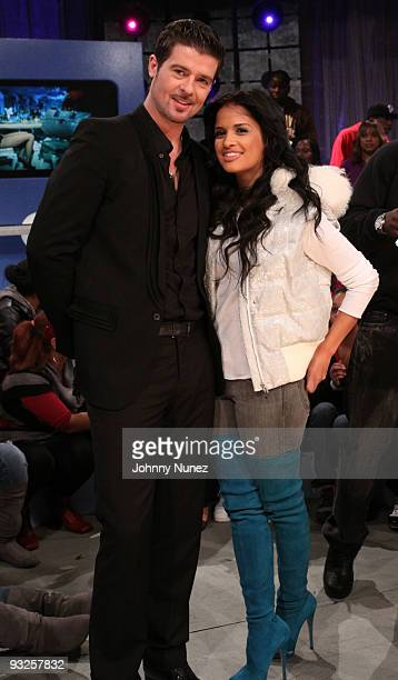 Robin Thicke and 106 Park host Rocsi visit BET's 106 Park at BET Studios on November 19 2009 in New York City