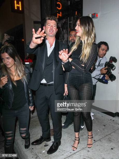 Robin Thicke and April Love Geary are seen on June 16 2018 in Los Angeles California