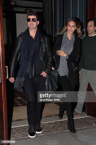 Robin Thicke and April Love Geary are seen on October 19 2015 in New York City