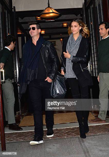 Robin Thicke and April Love Geary are seen walking in Soho on October 19 2015 in New York City