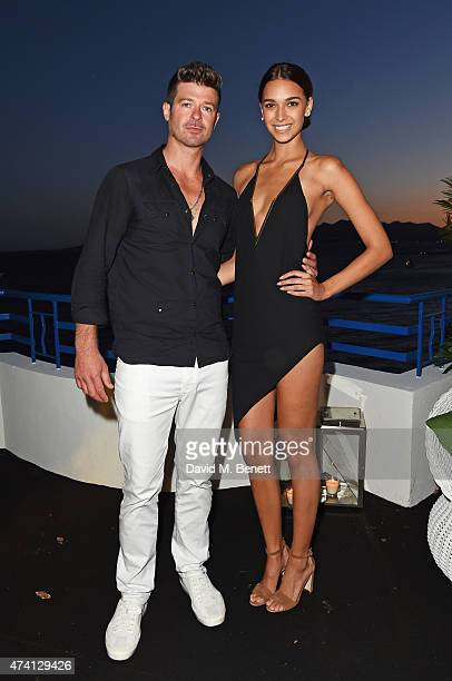 Robin Thicke and April Love Geary attend the Chopard Annabel's in Cannes party at the Martinez Hotel on May 20 2015 in Cannes France